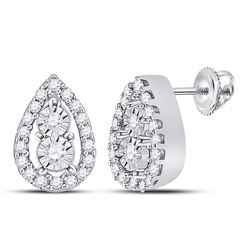 1/8 CTW Womens Round Diamond Teardrop Earrings 10kt White Gold - REF-20A5M
