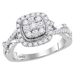 5/8 CTW Round Diamond Cluster Bridal Wedding Engagement Ring 14kt White Gold - REF-74T9V