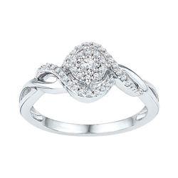 1/5 CTW Round Diamond Cluster Bridal Wedding Engagement Ring 10kt White Gold - REF-23W3H