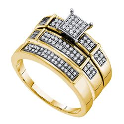 1/3 CTW His Hers Round Diamond Cluster Matching Wedding Set 10kt Yellow Gold - REF-51F2W