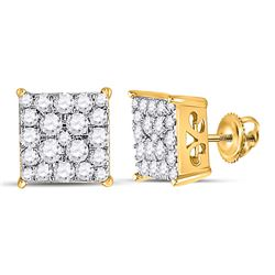 1/2 CTW Womens Round Diamond Square Cluster Earrings 10kt Yellow Gold - REF-32F7W