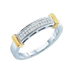 1/12 CTW Womens Round Diamond Band Ring 10kt Two-tone Gold - REF-15X5T