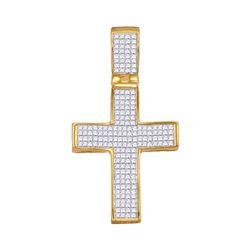 1 & 1/2 CTW Mens Princess Diamond Cross Charm Pendant 10kt Yellow Gold - REF-68H2R