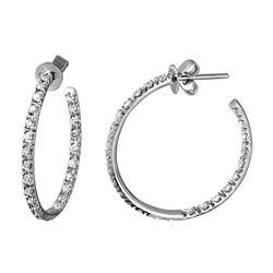 1.12 CTW Diamond Earrings 14K White Gold - REF-75M2F