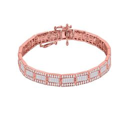 3 & 1/2 CTW Womens Baguette Diamond Link Bracelet 14kt Rose Gold - REF-252F3W