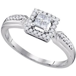1/4 CTW Womens Princess Diamond Square Frame Cluster Ring 10kt White Gold - REF-23X3T