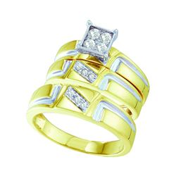 1/4 CTW His Hers Round Diamond Square Matching Wedding Set 10kt Yellow Gold - REF-47N6A