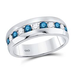 1 CTW Mens Round Blue Color Enhanced Diamond Band Ring 10kt White Gold - REF-95X5T