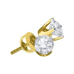 1 CTW Unisex Round Diamond Solitaire Stud Earrings 14kt Yellow Gold - REF-181F3W
