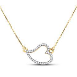 1/6 CTW Womens Round Diamond Sideways Heart Necklace 10kt Yellow Gold - REF-15T2V