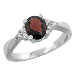 1.06 CTW Garnet & Diamond Ring 14K White Gold - REF-36F9N