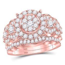 2 CTW Round Diamond Bridal Wedding Ring 14kt Rose Gold - REF-187T5V