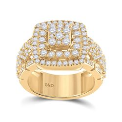 2 & 1/3 CTW Mens Round Diamond Square Statement Cluster Ring 14kt Yellow Gold - REF-197H6R