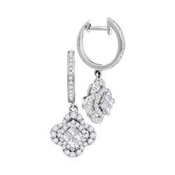 1 CTW Womens Princess Diamond Dangle Earrings 14kt White Gold - REF-81N7A