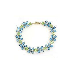 Genuine 20.7 ctw Blue Topaz & Peridot Bracelet 14KT White Gold - REF-142W9Y
