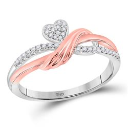 1/10 CTW Womens Round Diamond Heart Ring 10kt Two-tone Gold - REF-13M6F
