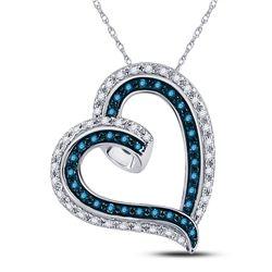 1/6 CTW Womens Round Blue Color Enhanced Diamond Heart Pendant 10kt White Gold - REF-21W8H
