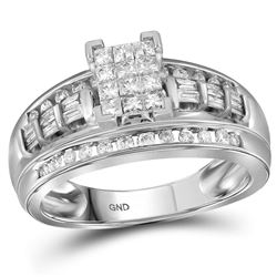 1/2 CTW Princess Diamond Cluster Bridal Wedding Engagement Ring 10kt White Gold - REF-42A2M