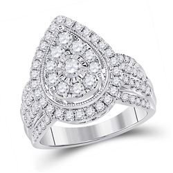 1 & 1/2 CTW Womens Round Diamond Teardrop Cluster Ring 14kt White Gold - REF-150Y2N