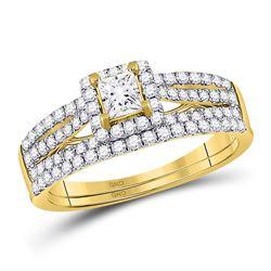 1 CTW Princess Diamond Bridal Wedding Ring 14kt Yellow Gold - REF-136F4W