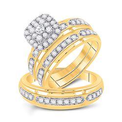 1 & 1/5 CTW His Hers Round Diamond Matching Wedding Set 10kt Yellow Gold - REF-109T2V
