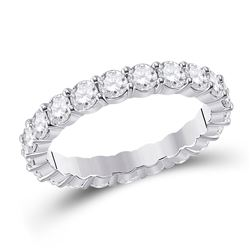 2 & 1/3 CTW Womens Round Diamond Classic Eternity Ring 14kt White Gold - REF-265Y9N