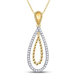 1/10 CTW Womens Round Diamond Beaded Dangle Teardrop Pendant 10kt Yellow Gold - REF-13X5T