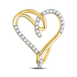 1/8 CTW Womens Round Diamond Heart Pendant 10kt Yellow Gold - REF-13R5X