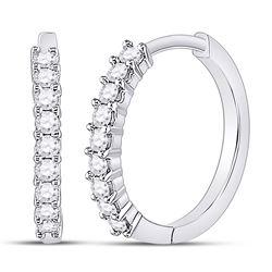 1/4 CTW Womens Round Diamond Single Row Hoop Earrings 10kt White Gold - REF-21H8R
