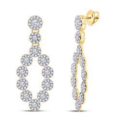 1 & 1/4 CTW Womens Round Diamond Dangle Earrings 10kt Yellow Gold - REF-64R8X
