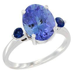 2.63 CTW Tanzanite & Blue Sapphire Ring 14K White Gold - REF-63Y7V