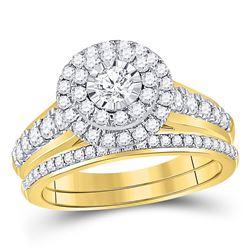 1 CTW Round Diamond Bridal Wedding Ring 14kt Yellow Gold - REF-122V6Y