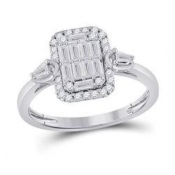 1/2 CTW Womens Baguette Diamond Rectangle Fashion Ring 14kt White Gold - REF-61T4V