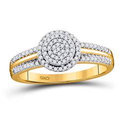 1/4 CTW Round Diamond Circle Cluster Bridal Wedding Engagement Ring 10kt Yellow Gold - REF-21X8T