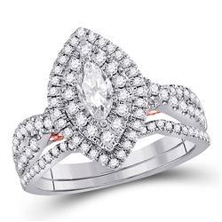 1 CTW Marquise Diamond Bridal Wedding Ring 14kt Two-tone Gold - REF-143M2F