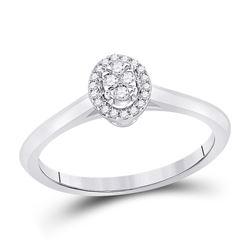 1/10 CTW Womens Round Diamond Oval Fashion Ring 14kt White Gold - REF-29M4F