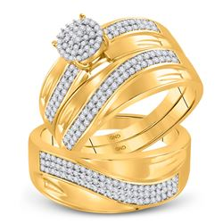 1/2 CTW His Hers Round Diamond Cluster Matching Wedding Set 10kt Yellow Gold - REF-64R8X