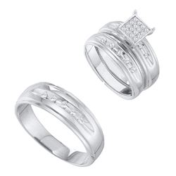 1/3 CTW His Hers Round Diamond Cluster Matching Wedding Set 10kt Yellow Gold - REF-65V4Y