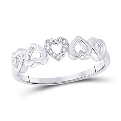 0.03 CTW Womens Round Diamond Alternating Heart Band Ring 10kt White Gold - REF-10A9M