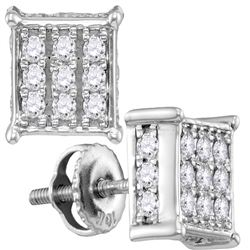 1/2 CTW Womens Round Diamond Square Cluster Stud Earrings 10kt White Gold - REF-40V8Y