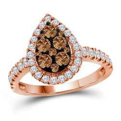 1 CTW Womens Round Brown Diamond Teardrop Cluster Ring 10kt Rose Gold - REF-81M2F