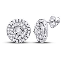 1/4 CTW Womens Round Diamond Circle Earrings 10kt White Gold - REF-24Y5N