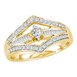 1/2 CTW Marquise Diamond Marquise Bridal Wedding Engagement Ring 14kt Yellow Gold - REF-88A5M