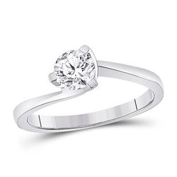 3/4 CTW Womens Round Diamond Solitaire Bridal Wedding Engagement Ring 14kt White Gold - REF-245R4X