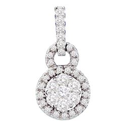 1/2 CTW Womens Round Diamond Circle Frame Flower Cluster Pendant 14kt White Gold - REF-45H2R