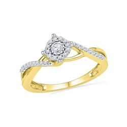 1/5 CTW Womens Round Diamond Solitaire Twist Promise Ring 10kt Yellow Gold - REF-22R5X