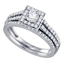 1 CTW Round Diamond Square Halo Bridal Wedding Ring 14kt White Gold - REF-139H8R