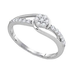 1/4 CTW Womens Round Diamond Flower Cluster Slender Ring 10kt White Gold - REF-22N5A
