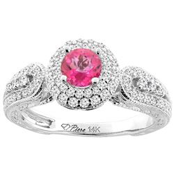 1.06 CTW Pink Topaz & Diamond Ring 14K White Gold - REF-88H8M