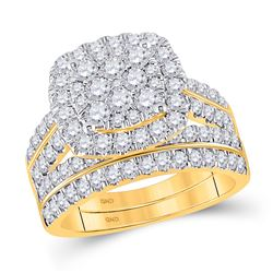 2 CTW Round Diamond Square Bridal Wedding Ring 14kt Yellow Gold - REF-173Y9N